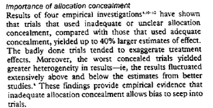 Snippet of an article about allocation concealment